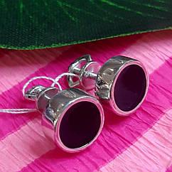 Серебряные мужские серьги-гвоздики с черной эмалью - Мужская серьги серебро