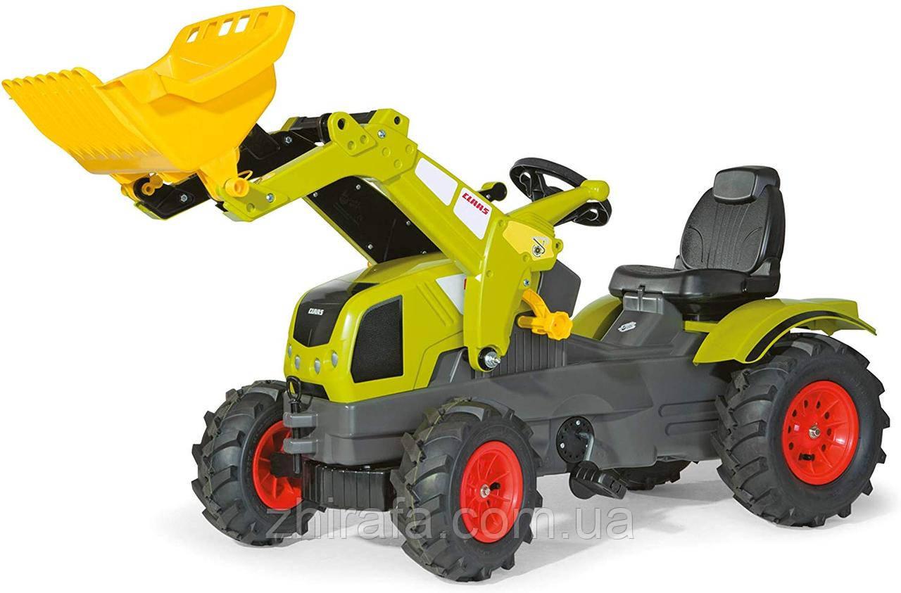 Трактор на педалях с ковшом Rolly Toys CLAAS 611072  Надувные колеса