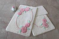 Набор ковриков  для ванной комнаты  ALESSIA набор (3 предмета).Цветочки 2