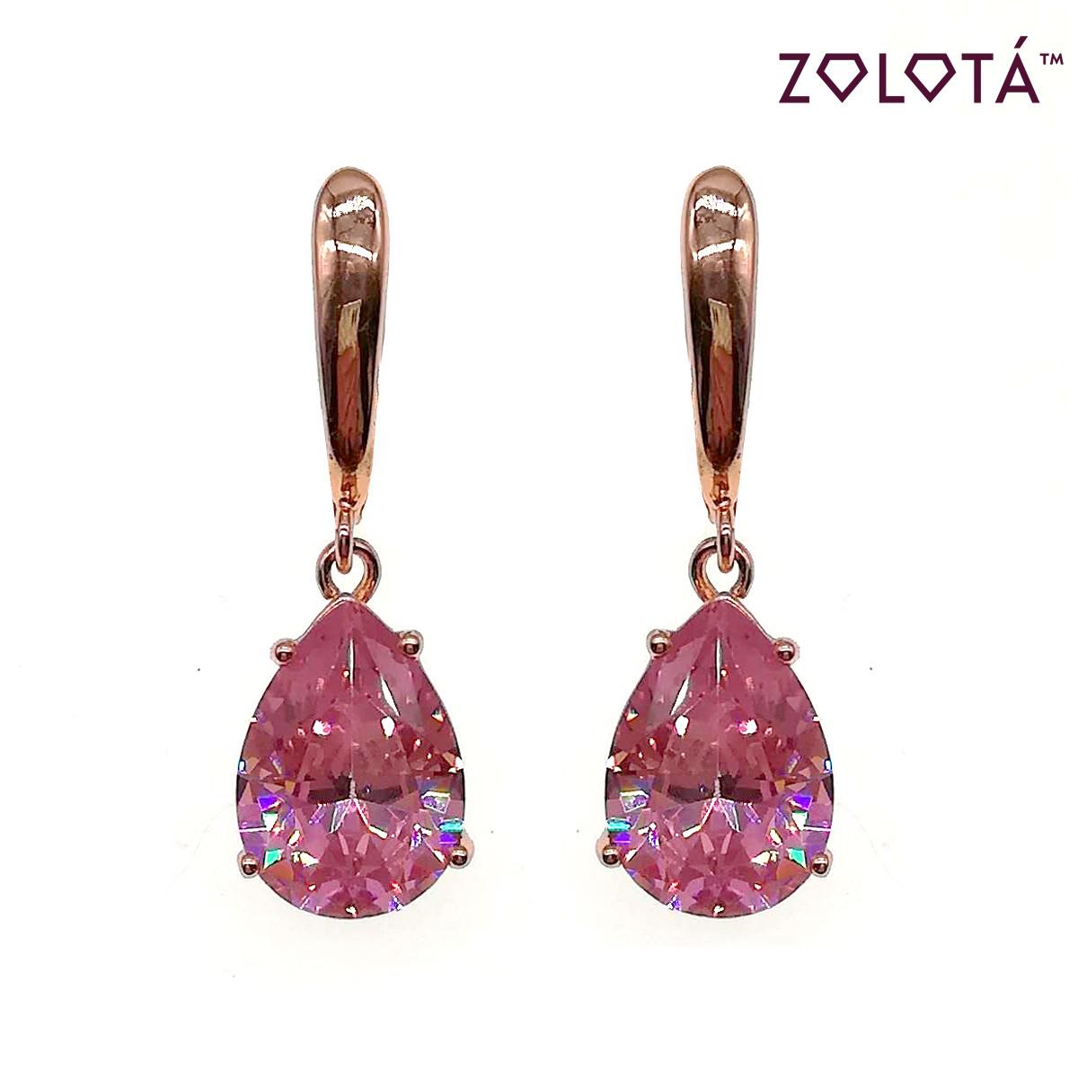 Серьги Zolota  из медицинского золота с розовыми фианитами (куб. цирконием), в позолоте, ЗЛ00698 (1)