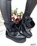 Угги женские черные с бубоном натуральная кожа, фото 6