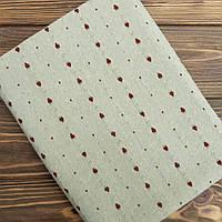 """Ткань для пэчворка и рукоделия японский хлопок """"Клубнички на винтажном зеленом"""",  25*35 см"""