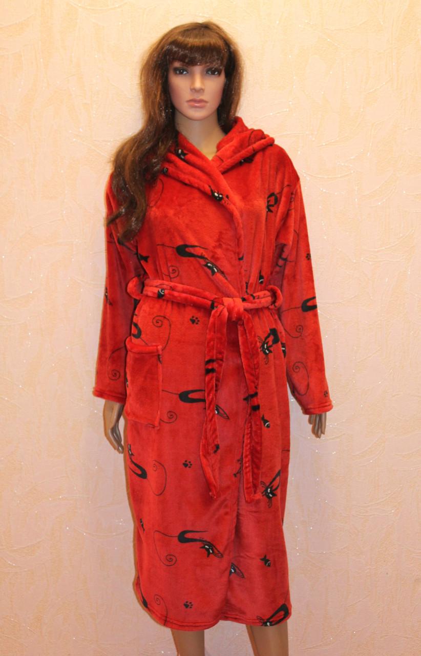 Халат женский махровый красный длинный на запах с капюшоном р.42-52