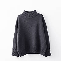 Женский меланжевый стильный свитер  темно-серый