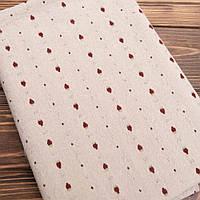 """Ткань для пэчворка и рукоделия японский хлопок """"Клубнички на бежево-сером"""",  25*35 см"""