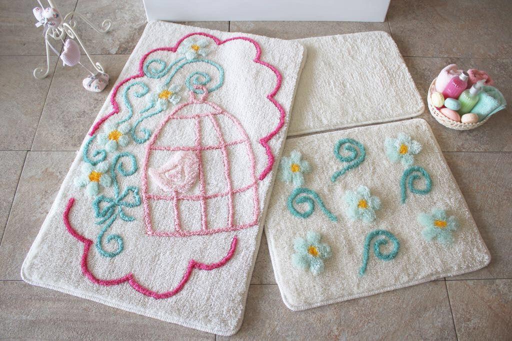 Набор ковриков  для ванной комнаты  ALESSIA набор (3 предмета).Птичка в клетке