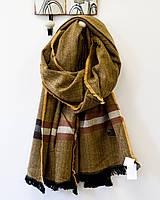 Модный теплый шарф палантин коричневого цвета