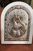 Икона Остробрамская AGIO SILVER (Греция) Серебряная с позолотой в белом цвете 120 х 160 мм, фото 1