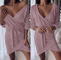 Красивое платье на запах с длинным рукавом