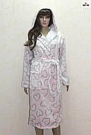 Халат женский розовый махровый длинный на запах с капюшоном р.46-50