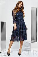 Вечернее платье миди с кружевом