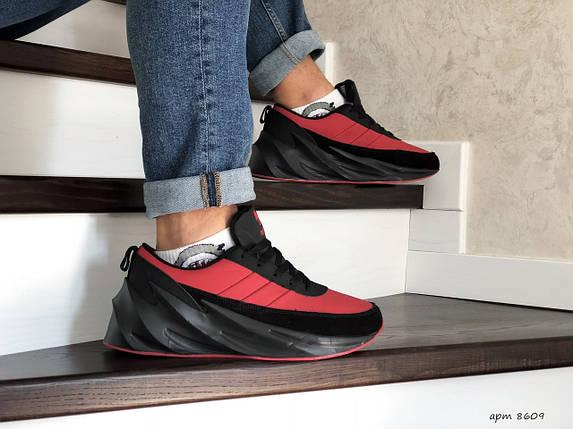 Мужские зимние кроссовки прессованная кожа  красные 15\8609, фото 2