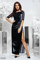 Бархатное платье длины миди с глубоким разрезом
