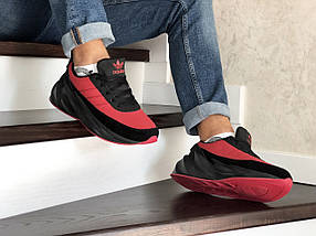 Мужские зимние кроссовки прессованная кожа  красные 15\8609, фото 3