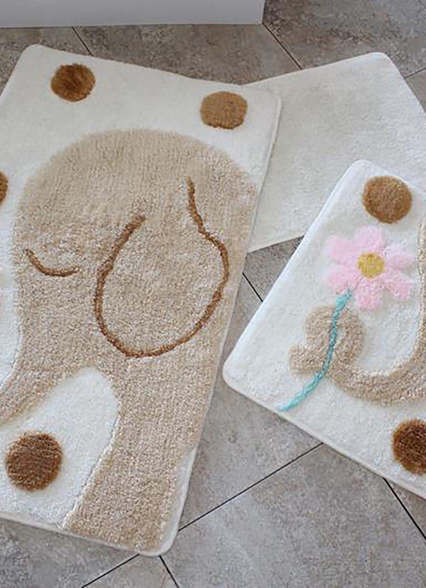 Набор ковриков  для ванной комнаты  ALESSIA набор (3 предмета). Слоник с цветком
