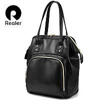 Сумка - рюкзак женская черная Realer вместительная большая модная