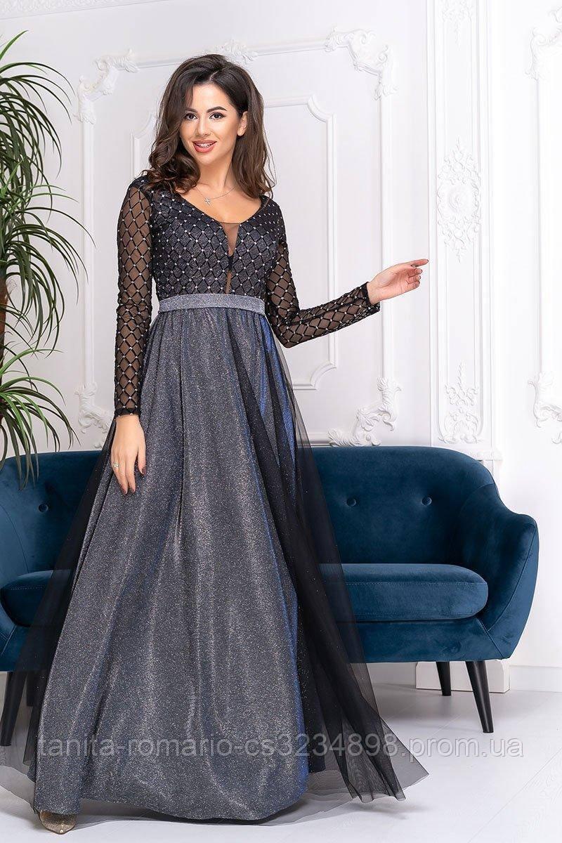 Вечернее платье 9207e  Графитовый S