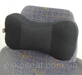 Подушка подголовник EKKOSEAT в машину - трёхсекционная, ортопедическая, черная.