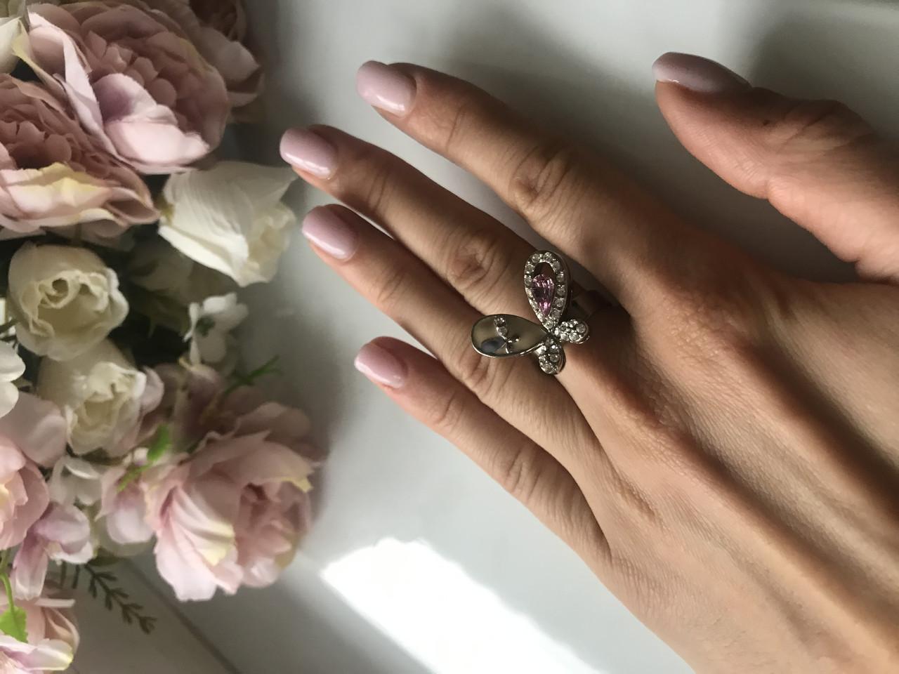 Кольцо женское с камнями Swarovski Butterfly, размер универсальный
