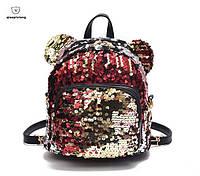 Рюкзак женский сумка мишка с пайетками Красный ( код: 1434 )