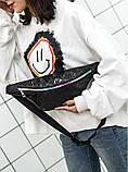 """Женская бананка голографическая блестящая детская поясная сумка """"ПАУТИНКА"""" черная, фото 3"""