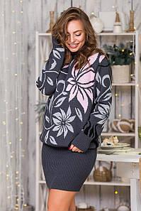 Теплый костюм с юбкой-карандаш мини Вероника (графит, серый, черный, розовый)