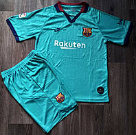 Детская футбольная форма Барселона сезон 2019-2020 резервная бирюзовая