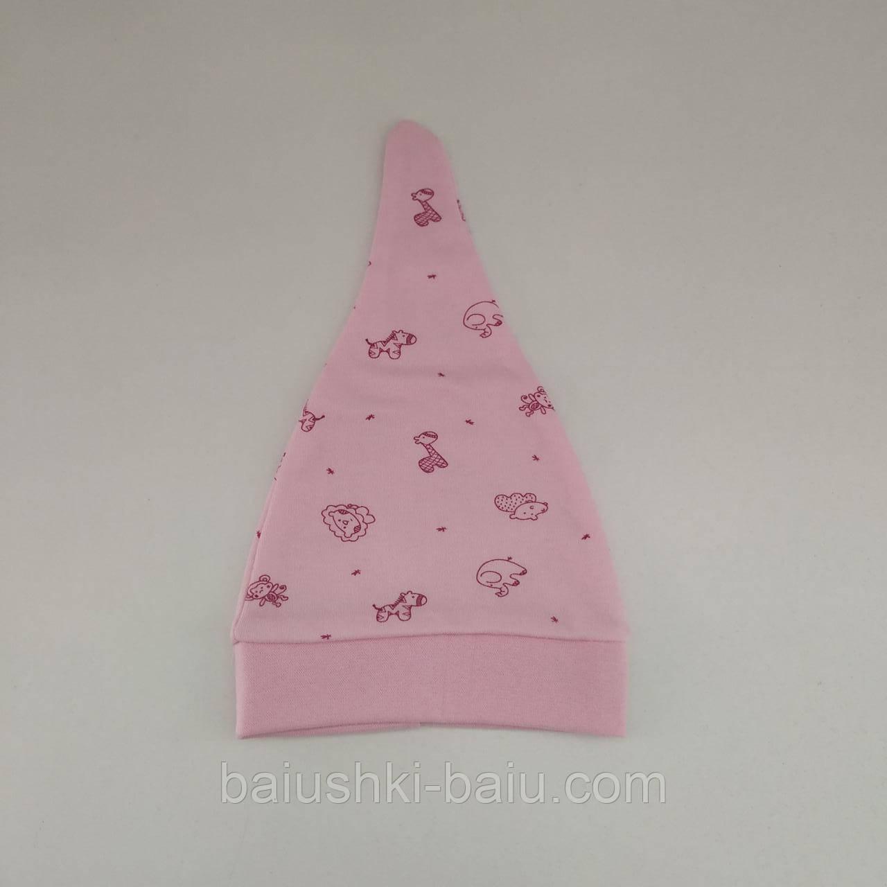 Детская шапка узелок для новорожденных (интерлок), р. 0-3 мес.