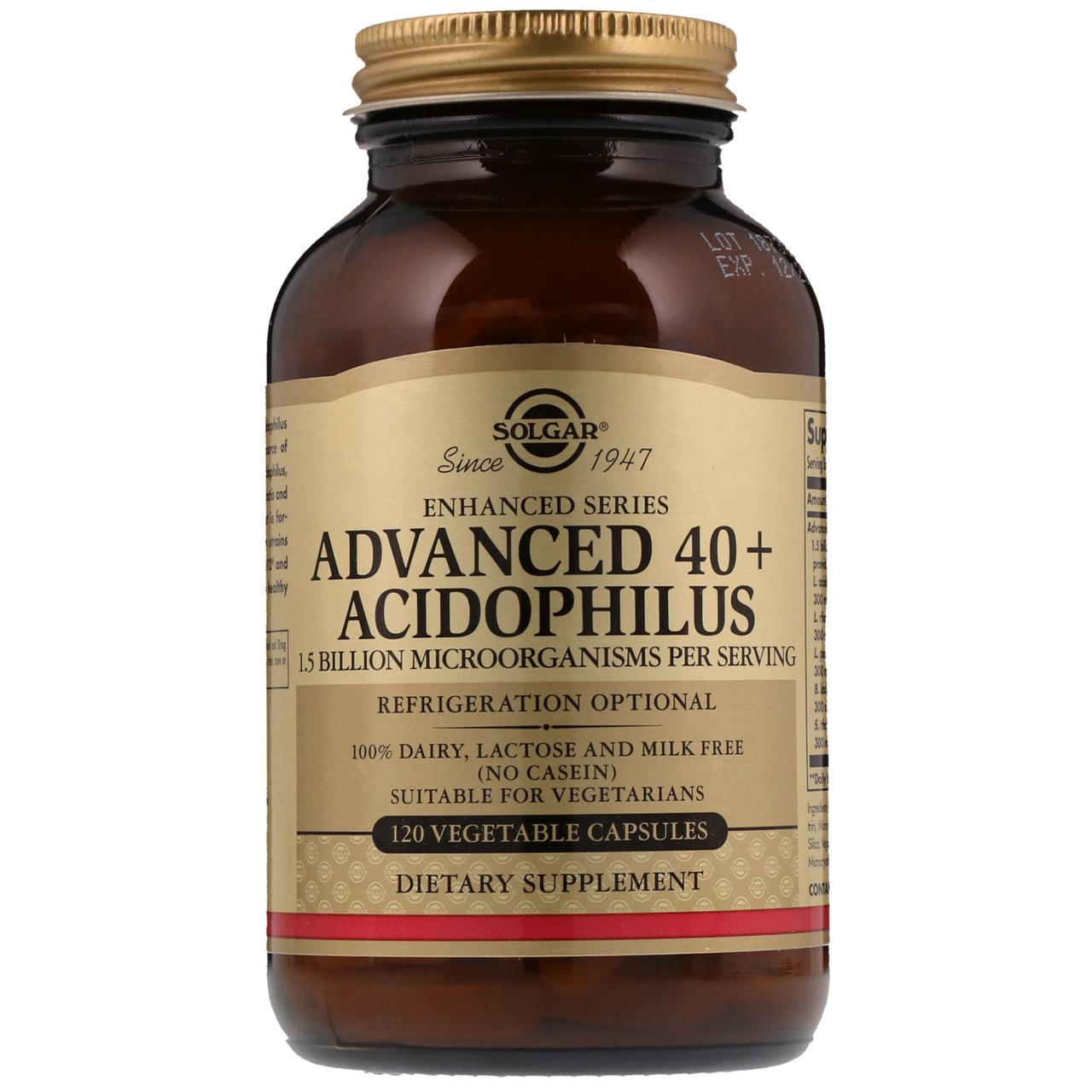 """Улучшенный ацидофилус SOLGAR """"Advanced 40+ Acidophilus"""" здоровая микрофлора кишечника (120 капсул)"""