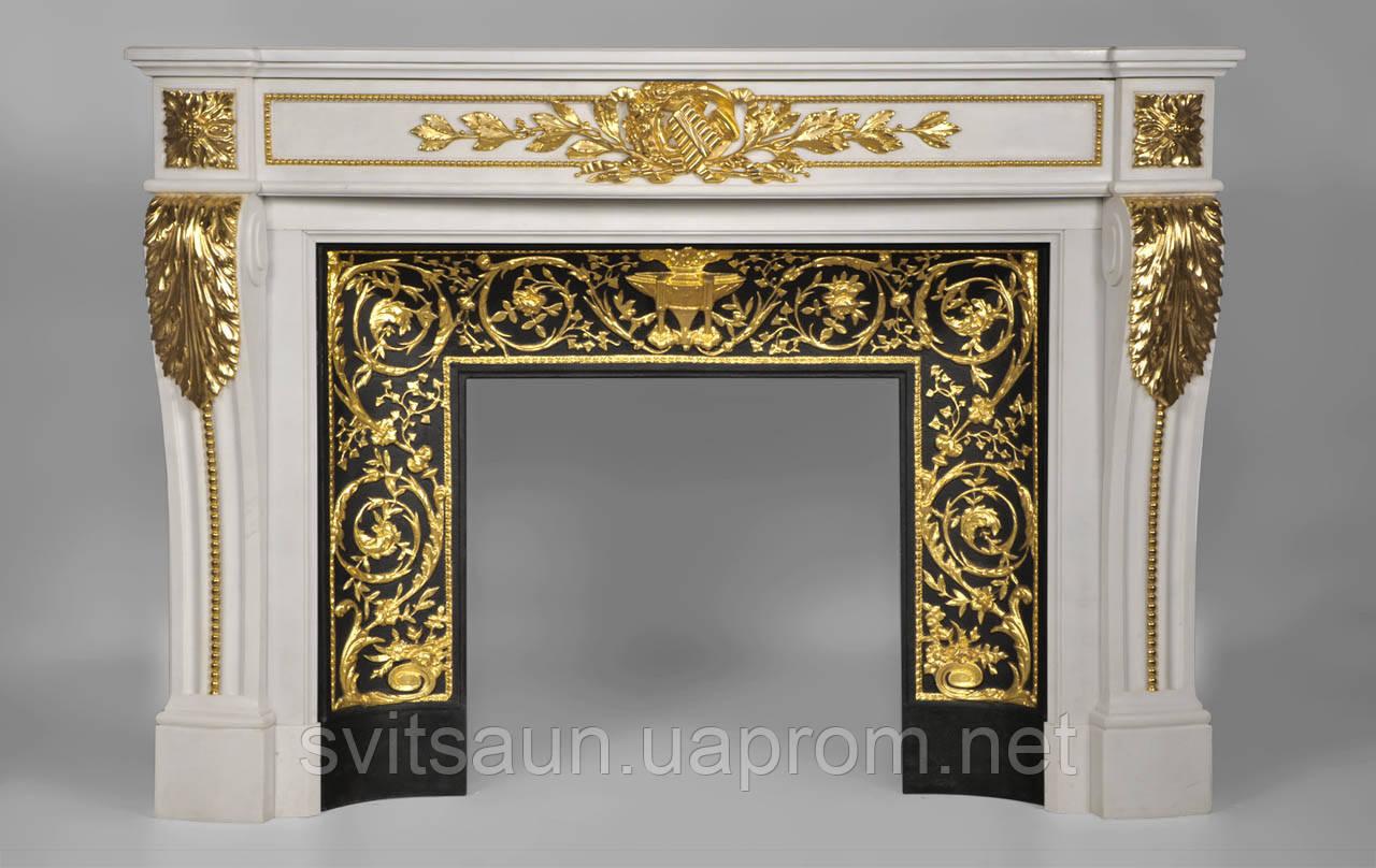 Мраморный камин Аркадия Стиль Людовика XVI(сусальное золото)