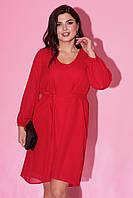 Вечернее платье красного цвета с пышной юбкой. Модель 23234. Размеры 50-64