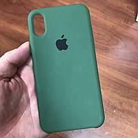 Чехол на телефон iphone x xs 10 красивый силиконовый бампер для айфона 10 темно-зеленый