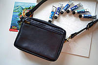 Поясная-кроссбоди сумка из натуральной кожи для мужчин и женщин синяя