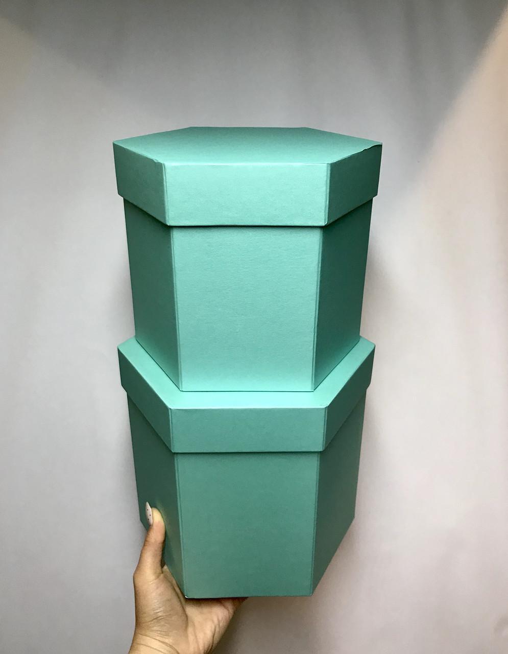 Коробка шестигранная(Св.бирюза перламутр)