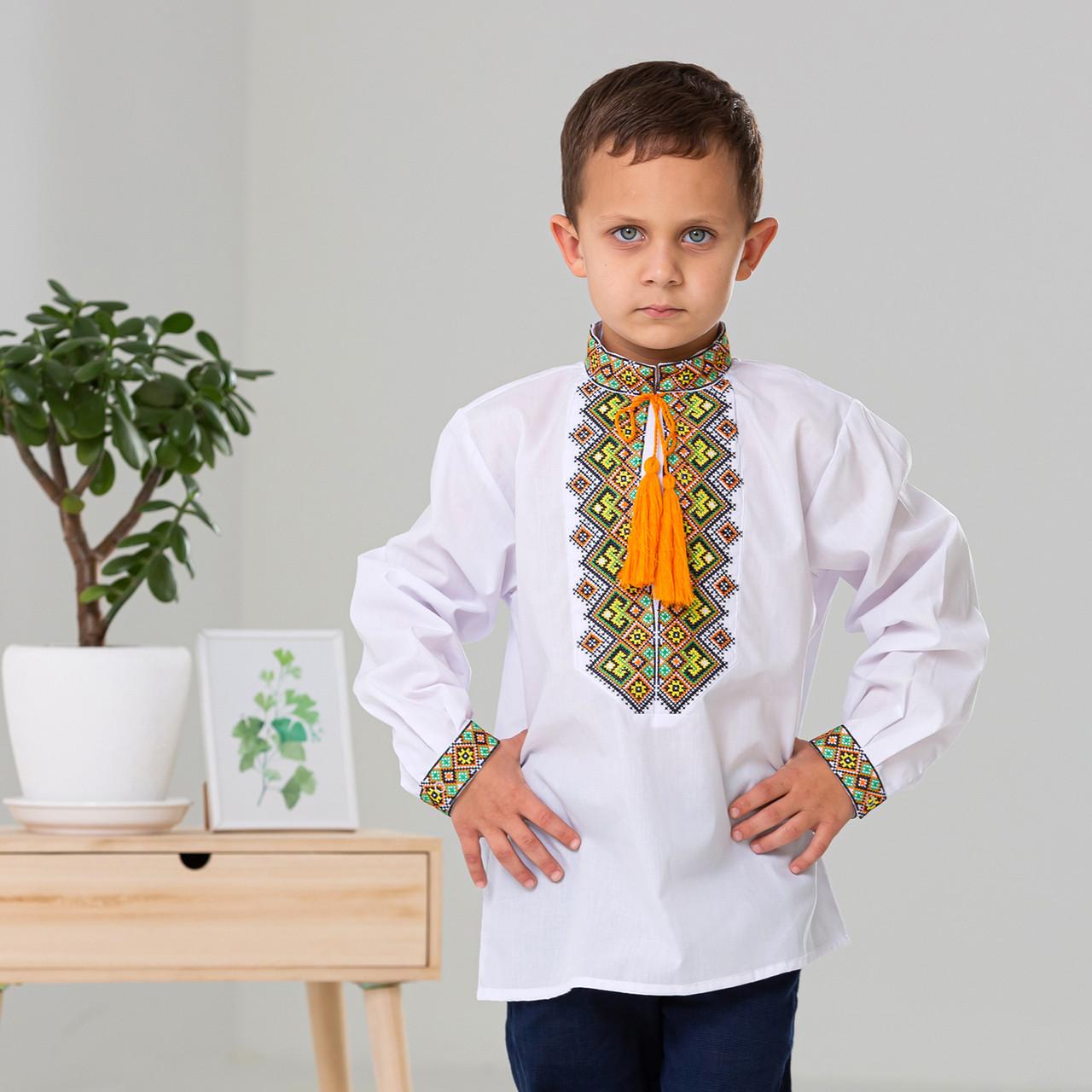 Вышиванка для мальчика с ярким  орнаментом