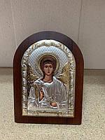 Икона серебряная с позолотой Ангел Хранитель на деревянной основе AGIO SILVER (Греция) 75 х 103 мм