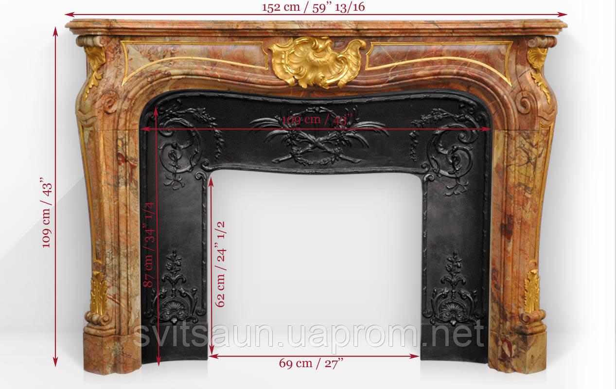 Мраморный каминГрафиня де Вентимилья с бронзовыми орнаментами