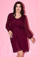 Вечернее платье бордового цвета с пышной юбкой. Модель 23270. Размеры 50-64