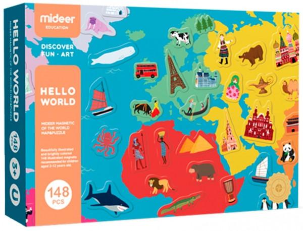 MiDeer Магнитная карта Мира Hello World