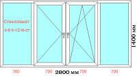 Балконная рама металлопластиковая энергосберегающая 2800x1400 (VST)