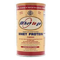 "Сывороточный протеин, SOLGAR, Whey To Go ""Whey Protein Powder"" с шоколадным вкусом (454 г)"