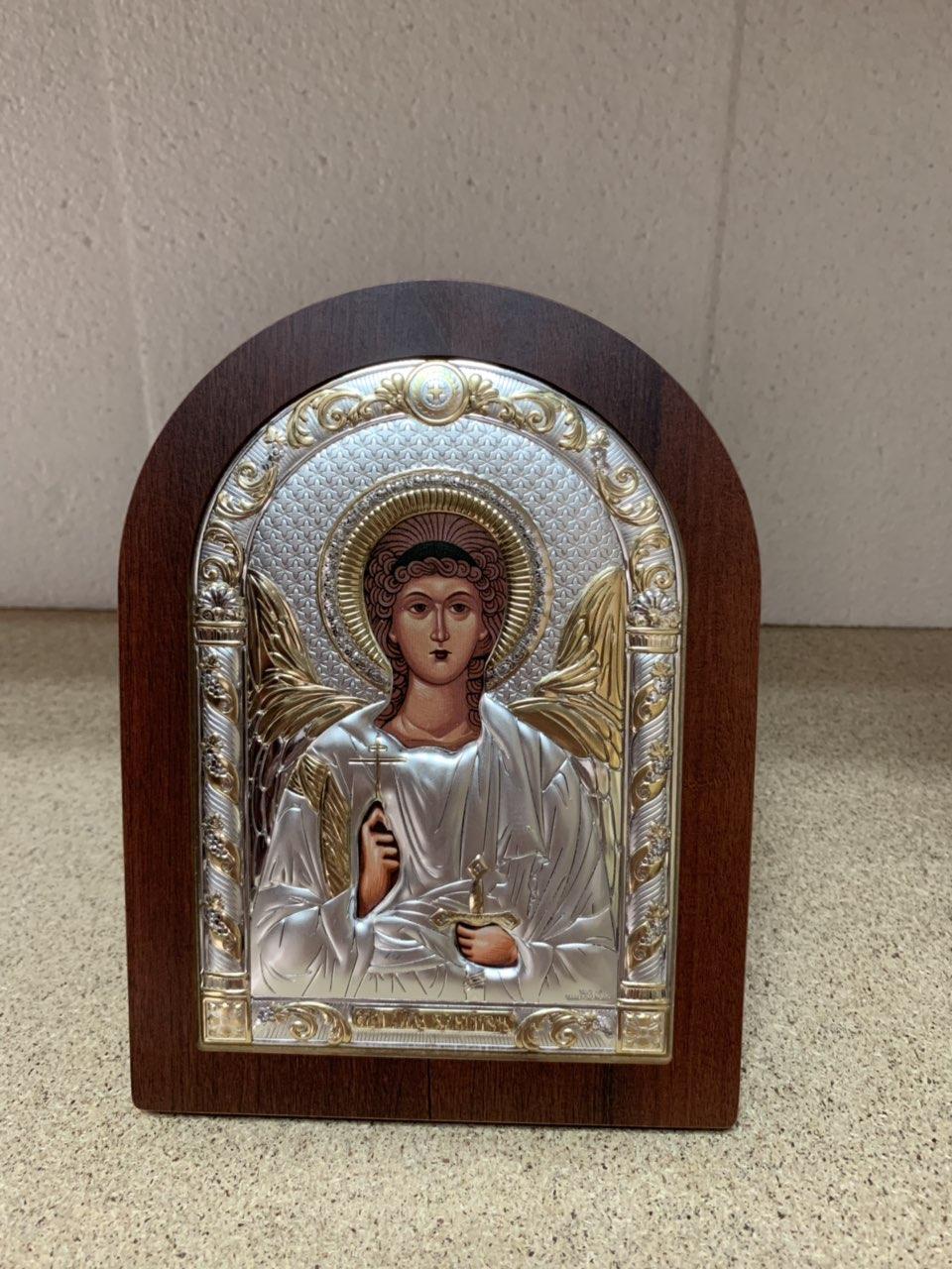 Икона Ангела Хранителя на деревянной основе серебряная с позолотой AGIO SILVER (Греция)175 х 225 мм