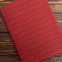 """Японский Фактурный Хлопок для Пэчворка и Кукол """"Цветные точечки на красном"""",  35*25 см"""