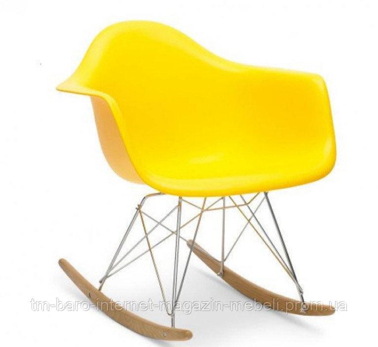 Кресло-качалка Тауэр R, желтый пластик, бук (Прайз), Eames