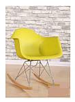 Кресло-качалка Тауэр R, желтый пластик, бук (Прайз), Eames, фото 2