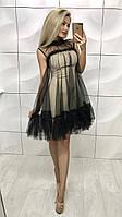 Воздушное платье с сеткой и кружевом /черное, 42-46, ft-374/