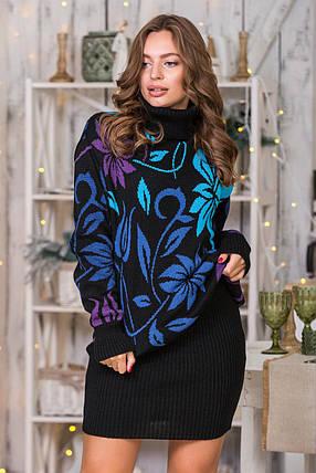 Теплий костюм зі спідницею-олівець міні Вероніка (чорний, джинс, слива, блакитний), фото 2