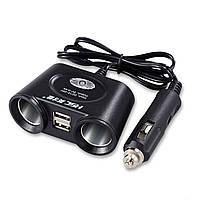 ☟Разветвитель для прикуривателя Lesko HSC-102 USB*2 зарядное в авто 120 Вт быстрая зарядка гаджетов