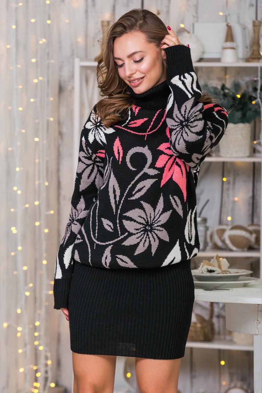 Теплий костюм зі спідницею-олівець міні Вероніка (чорний, капучино, льон, корал)