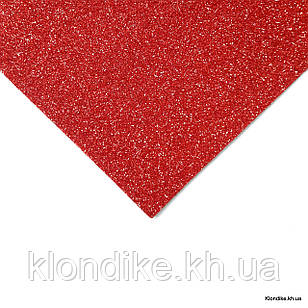 Фоамиран листовой, полиэстер, 20×30 см, Цвет: Красный